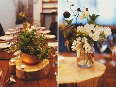 wood slice centerpieces. Momma, this is something I like with the flowers in mason jars on wood slices!