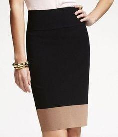 Express Pencil Color Block Skirt Black, Tan on Tradesy