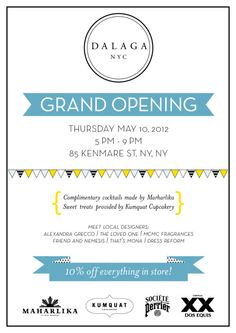 dalaganyc:  Our second store grand opening is only one week away! Everything is coming together and we cannot wait to celebrate with all of you. You can expect new items from some of our favorite local designers like Alexandra Grecco, ChrisRann and Friend and Nemesis along with special styles from Seychelles, BB Dakota and Ark  Co. that you will only be able to find at our new location! As an added bonus, everything in the store will be 10% off that evening. RSVP to the event today and we'l