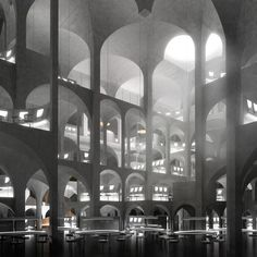 The programmatic complexities of such a resort offer a set… Shadow Architecture, Interior Architecture, Rendering Architecture, Architecture Diagrams, Architecture Portfolio, Felix Candela, Architecture Visualization, Stage Design, Brutalist