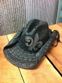Cowgirl Clad Company - Black Cowgirl Hat w/ Fleur De Lis, $24.00 (http://www.cowgirlclad.com/black-cowgirl-hat-w-fleur-de-lis/) I like this!
