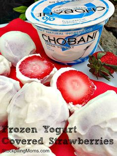Frozen yogurt covered strawberries - healthy, easy snack. And as a bonus, Strawberries have tons of gum-building Vitamin C which is required for collagen, a key protein that maintains your gums' strength. Just one half cup of strawberries delivers more than 70% of your daily value for Vitamin C!