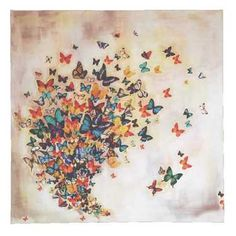 The Art Group Tag Lily Butterflies On Pale Ochre Multicoloured