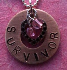 Personalized Survivor copper Metal Stamped by SplintersFromHeart