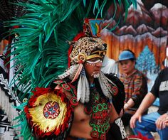 Aztec Indian Dancers ,  from Central Mexico, performing @ Evergreen Stat...