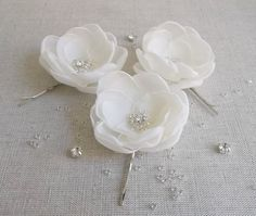 Ivory Cream fabric flowers in handmade Bridal by ZBaccessory, $21.00