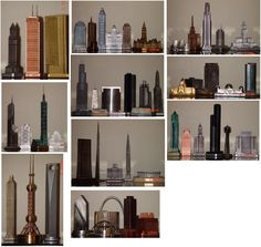 An assortment of miniature skylines.