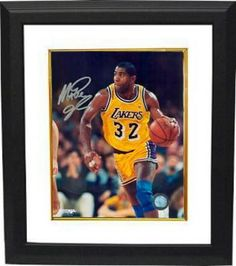 e8119d767eb Magic Johnson signed Los Angeles Lakers 16x20 Photo Custom Framed (yellow  jersey vertical close up)