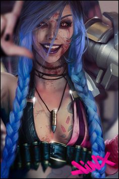 Jinx Fanart. Bout 25hours work in it and maybe need some more adjusting. Painting, bashing, texturing. Support: https://www.gofundme.com/2rh9a79p Patreon: https://www.patreon.com/Peterpunk  one of the ref image cosplayers:https://www.facebook.com/misdreavusmcosplay/
