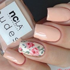 nails, flowers, and pink resmi