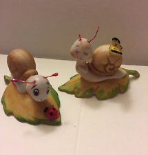New Arrival! 3 Day Auction! Place Your Bid! Collectible Homco Snail Figurines Set of 2 Ladybug Butterfly Numbered 8902