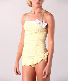 49b3c08874 Take a look at this Yellow Vintage Tankini Top by Down East Basics on   zulily