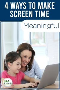 "Are you worried that your kids are spending too much on screen time and not enough in ""real life""? Screentime doesn't have to be a battle! Technology can be a very valuable part of their day and you don't have to necessarily limit screen time for kids . Read these 4 Ways to Make Screen Time Meaningful."