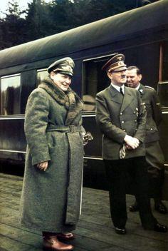 Adolf Hitler & Hermann Göering standing next to Hitlers personal 'Amerika' Train