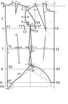 Как построить выкройку комбидреса. Можно использовать для моделирования купальника, боди, корсета. - Блог Елены Фоменковой Блог Елены Фоменковой