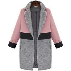 SheIn(sheinside) Notched Lapel Color Block Coat