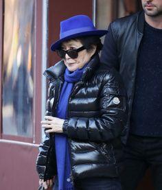Yoko Ono wearing a black Bady duvet jacket #moncler #yokoono #monclerfriends