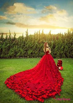 Wedding Dresses Sweetheart Petals Wedding Dresses Princess Off-the-shoulder Lace-up Bridal Gown PD20186000