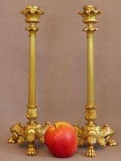 800,00. Paire De Bougeoirs Restauration, Pieds Griffus, XIX ème, Bronze Doré