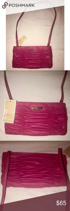 de422a4f8eb3 Michael Kors Purse Michael Michael Kors Webster Wallet Clutch Purse Genuine  Leather Electric Pink 100%