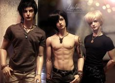 Virko, Shael, Laius (Iplehouse Arvid, Felix, Claude) Hair, faceups and photo by Looloo