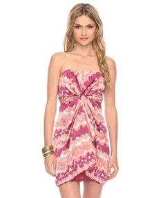 Strapless Pink Pattern Dress