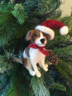 Dog Xmas Ornament/Made to Order/Needle Felted Jack Russell