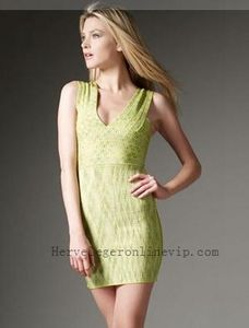 Herve Leger Dress Mini Bandage Abstract-pattern Yellow Online Store [5470]