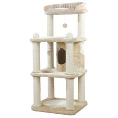 A cat scratching post allows your cat to live out the natural scratching habit without damaging your furniture and carpets. Condo and platforms provide a place to lounge.