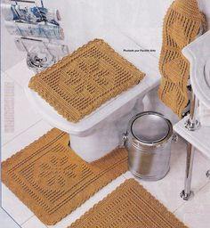 Crochet bathroom set ♥️LCB-MRS♥️ with diagrams --- Facilite Sua Arte: Jogo de Banheiro 11 - Tampo do vaso
