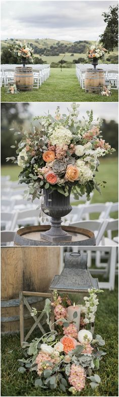 Winery wedding, ceremony ideas, wine barrels, lanterns, flowers, rustic romance // Anna J Photography
