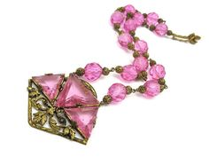 Art Deco Jewelry  Pink Czech Glass Necklace  by VintageInBloom