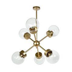 8d90fdf5aa4 Lámpara de techo de latón con 6 brazos y tulipas de cristal transparente  bola ATOM