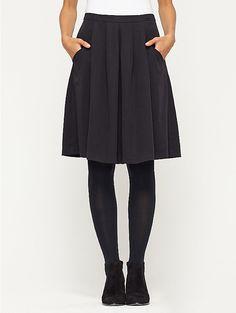 Knee-Length Pleated Skirt in Lightweight Tencel Twill