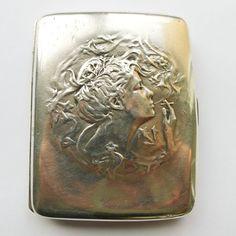 Antique Sterling Silver Art Nouveau Cigarette Case Smoking Woman - Circa 1900