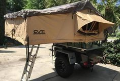 Here is the tent setup Chris is running on his M-Series M416 style fiberglass trailer