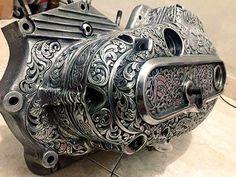 "Engraved Harley-Davidson XLCH 1000 Sportster ""Ironhead"" engine cases"