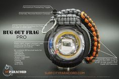 The Pro #bugoutfrag is the ultimate in personal #survivalkits The stylish #paracordgrenade shape is a cool, unique way to carry an impressive 28 essential #survivaltools and a generous portion of #550paracord The Bug Out Frag, designed by Surf City Paracord is the coolest, yet functional #edc kit on the market. Buy now at Surf City Paracord. #edckit