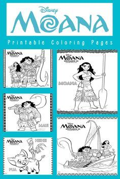 Save, download and print six Disney Moana coloring pages that feature the characters Moana, Maui, Pua and Heihei.