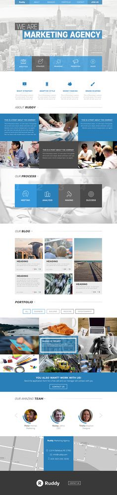 Ruddy - Free Marketing Agency One Page PSD Concept on Behance