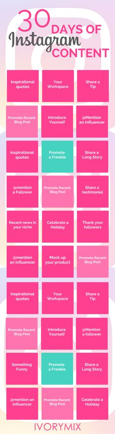 Don't Know What to Post on #Instagram -  Here's 30 Days' Worth of Ideas #Infographic #SocialMedia