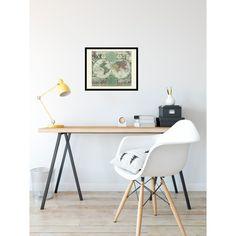 Framed world map decoration. Home office wall art. Handmade paper print from 19,99€. Shipment worldwide. World map on wall.