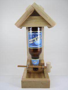 Beer Bottle Bird Feeder  Blue Moon by AllyBoosCreations on Etsy, $17.95