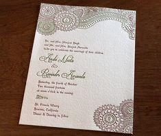 floral indian olive & red letterpress wedding invitations