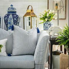 Crafted from high quality cotton, our Furnishing Fabrics & Decorative Pillow Collection defines the timeless beauty & distinctive style that Stuart Membery Home has come to represent.  'Vintage Ticking' in Skipper Blue  #shoponline #shipworldwide #blueandwhite #colonialliving  #stuartmemberyhome