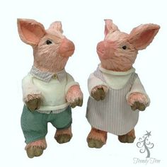 """Sisal+Piglet+Pair+-+Boy+and+Girl+Size:+15.5""""+ht;+6.5""""+width+Material:+Sisal+Boy+and+girl+piglets+dressed+in+matching+outfits.+Set+includes+one+of+each.++"""