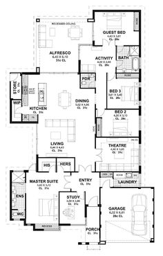I hope this one ticks a few boxes for people today! It's a beauty. The plan is huge and suited to a big family, possibly with older kids as the master is very separate from the rest of the home. Check out the HIS and HERS robes! The access from… Best House Plans, Dream House Plans, Small House Plans, House Floor Plans, Contemporary House Plans, Modern House Design, Home Design Floor Plans, Floor Design, Der Plan