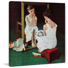 """Marmont Hill - """"Girl at the Mirror"""" by Norman Rockwell Painting Print on"""