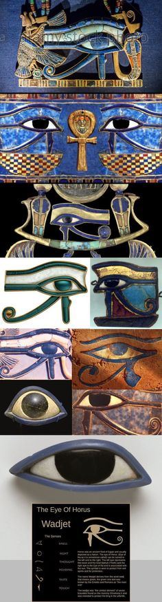 Eyes of Horus and Ra. Two ancient Egyptian deities. The eye of Horus symbolizes protection, royalty, and good health. The eye of Ra symbolizes good luck. Egyptian Mythology, Egyptian Symbols, Ancient Egyptian Art, Ancient Aliens, Ancient History, Egyptian Goddess, European History, Ancient Greece, American History