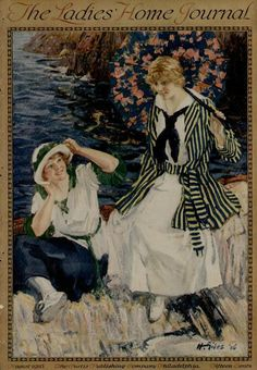 1916 LADIES HOME JOURNAL MAGAZINE COVER / FEMALES BY WATER SCENE- ARTISTS: GILES